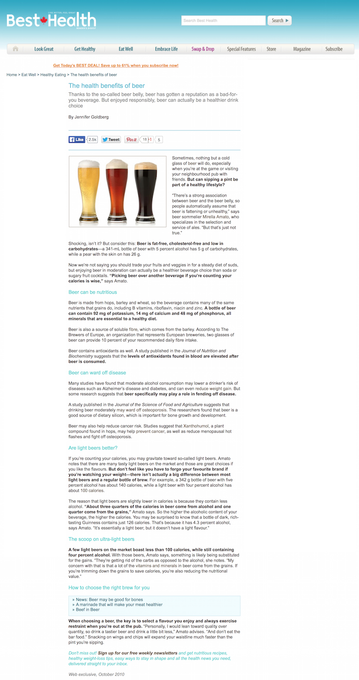 """The health benefits of beer"" by Jennifer Goldberg, Best Health, Oct. 2010"