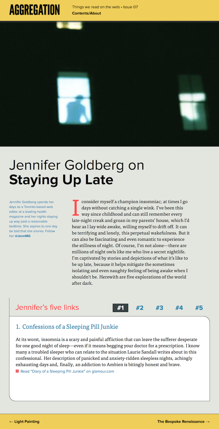 Staying Up Late | Aggregation Magazine (p.1)