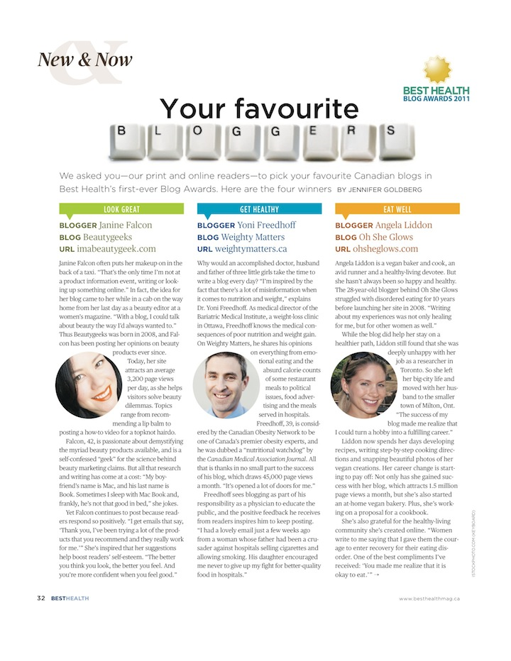"""Your Favourite Bloggers,"" by Jennifer Goldberg, Best Health, Summer 2011  (p1)"